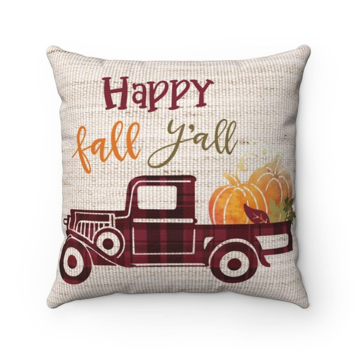 Happy Fall Y'All Red Pickup Pillow