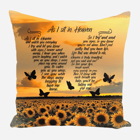 As I Sit In Heaven Sunflower Photo Upload Pillow