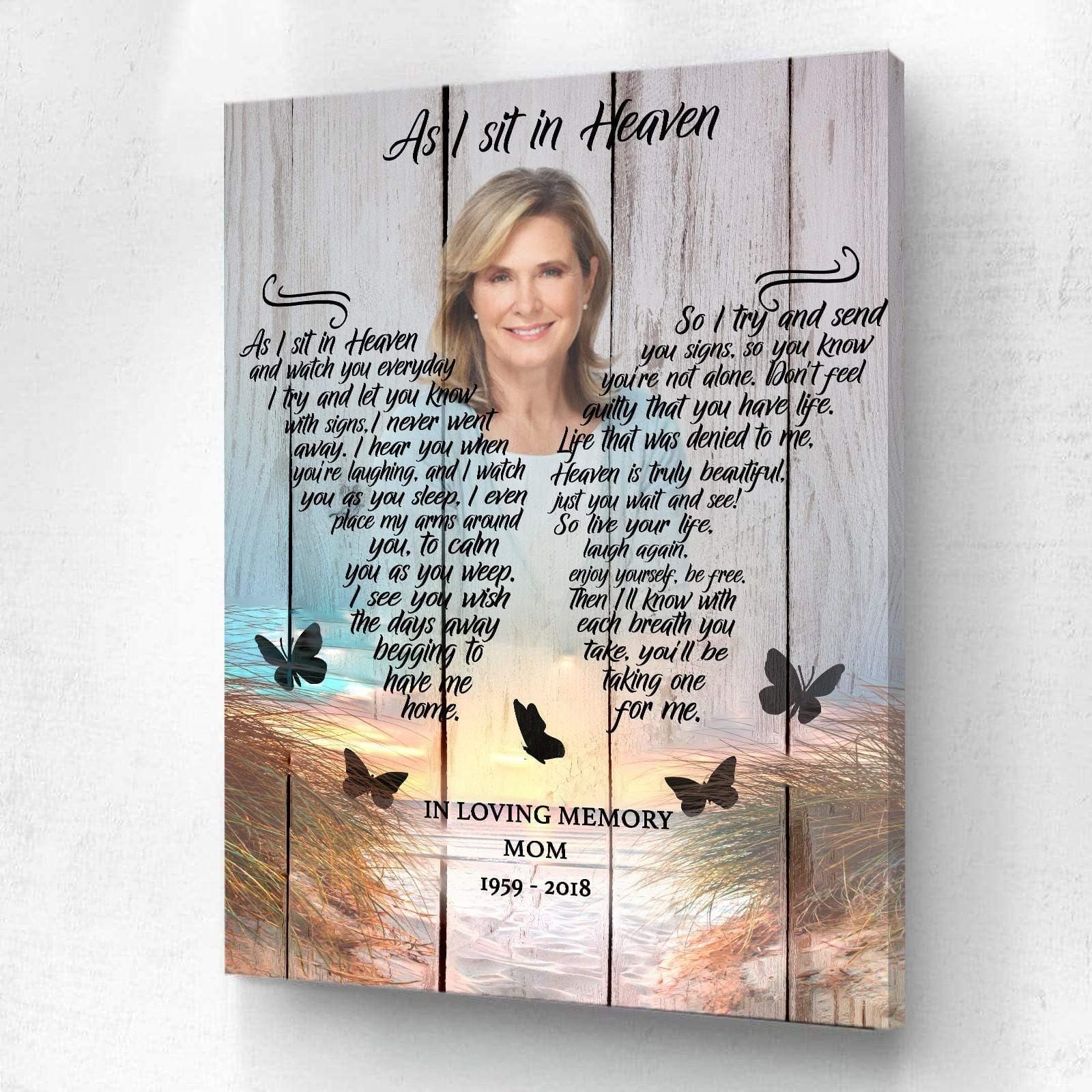 Preview Request As I Sit In Heaven Beach Background - Personalized Canvas