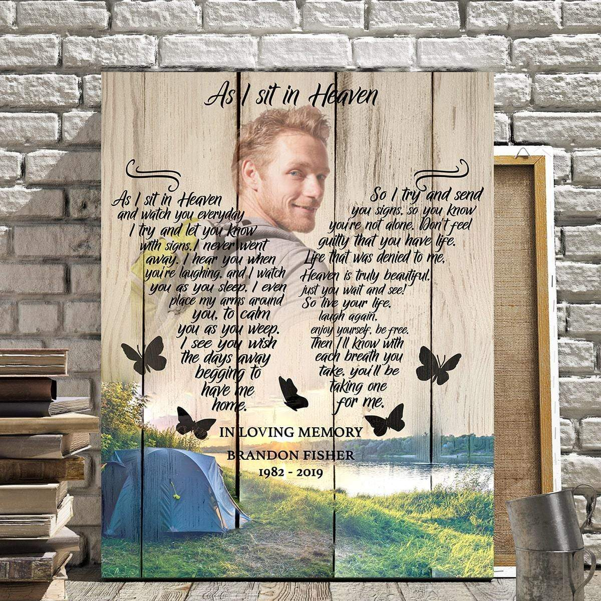 Preview Request As I Sit In Heaven Camping Background - Personalized Canvas