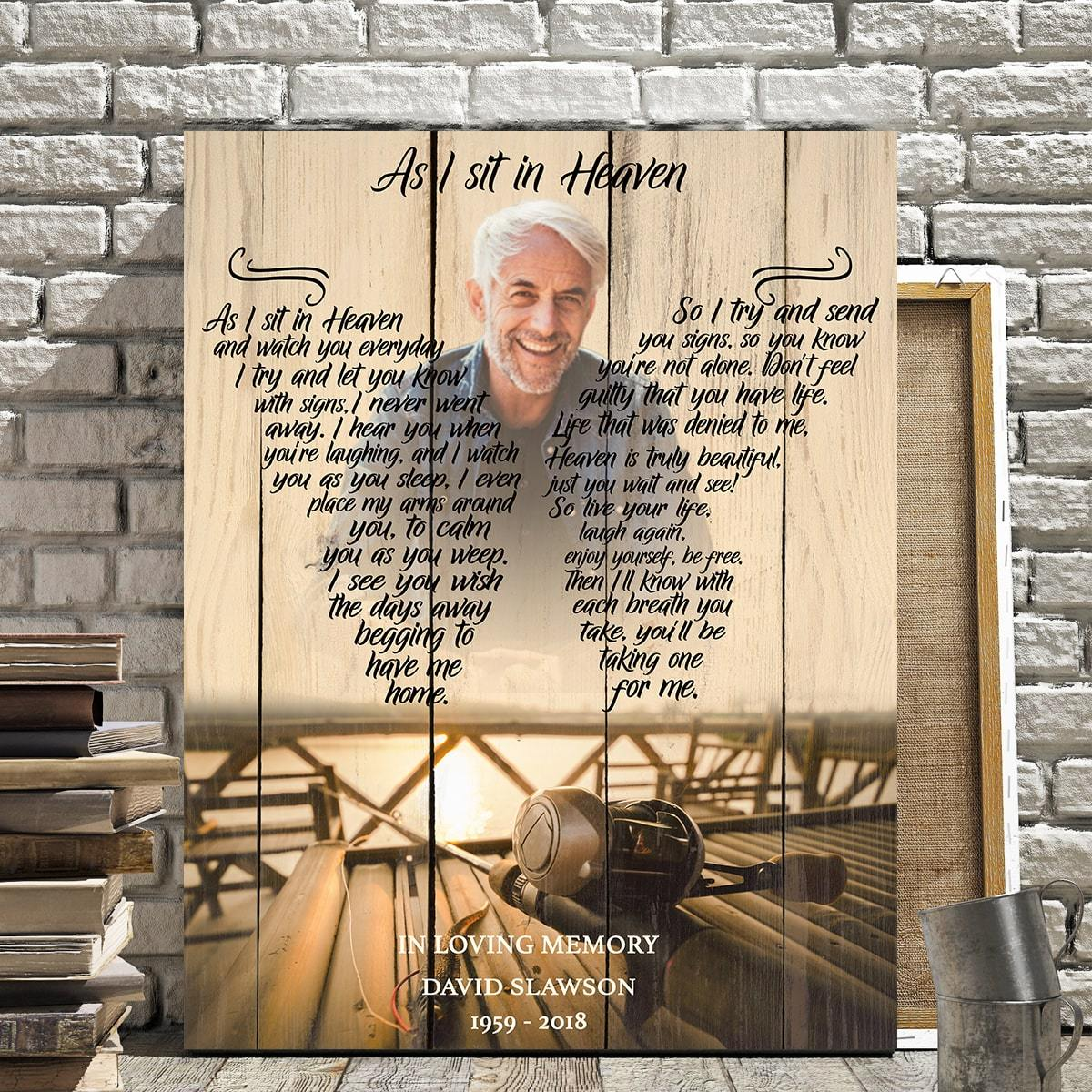 As I Sit In Heaven Fishing Background - Personalized Canvas