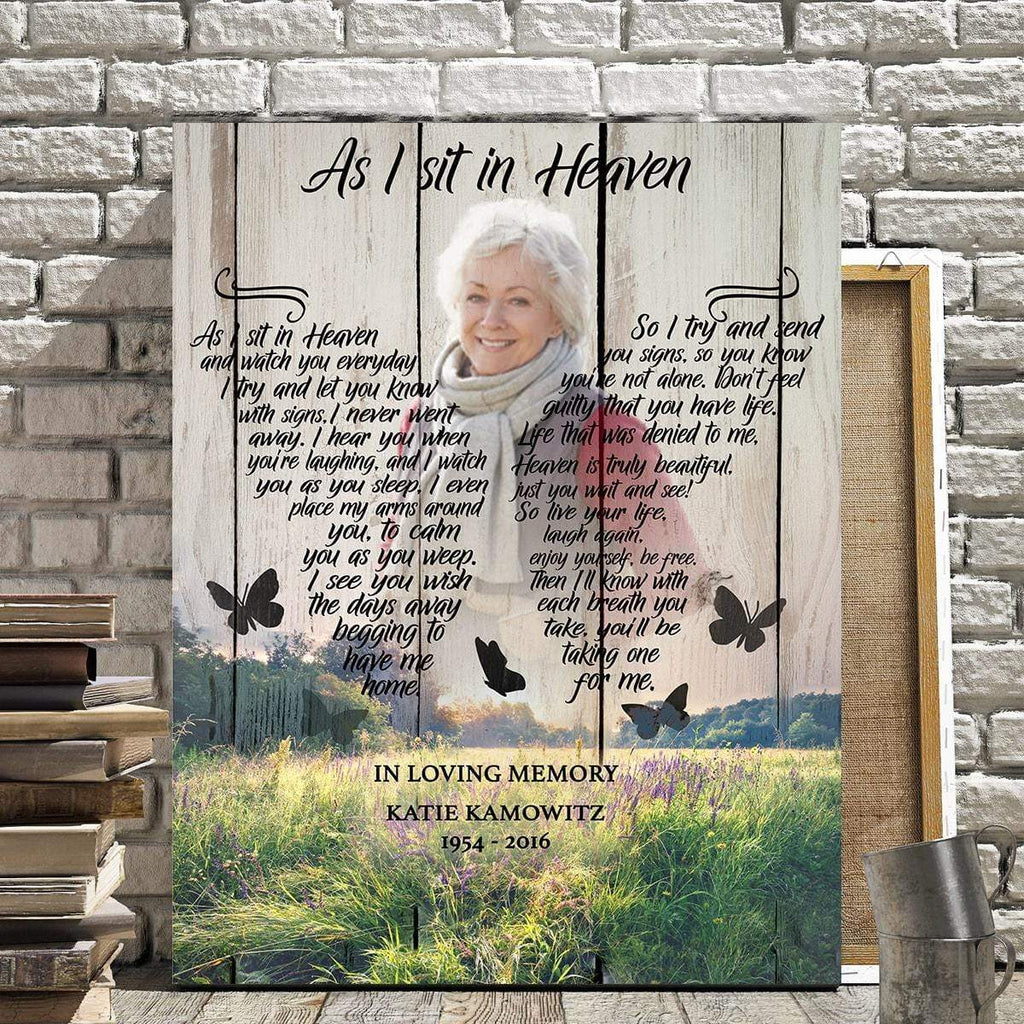 Preview Request As I Sit In Heaven Wildflower Background - Personalized Canvas