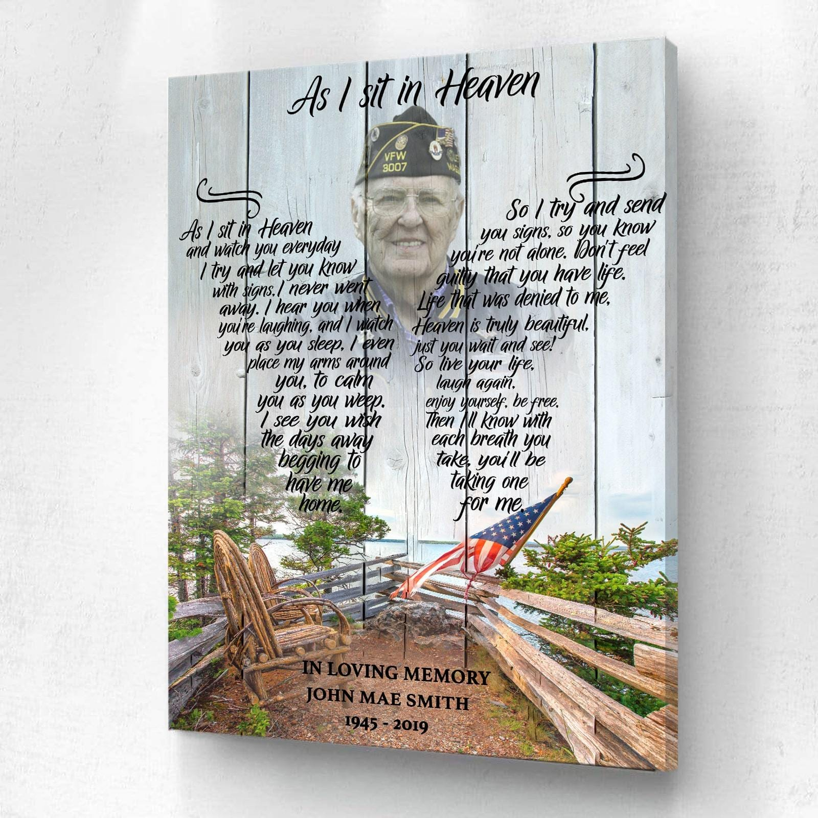 As I Sit In Heaven Mountain With Flag Background - Personalized Canvas
