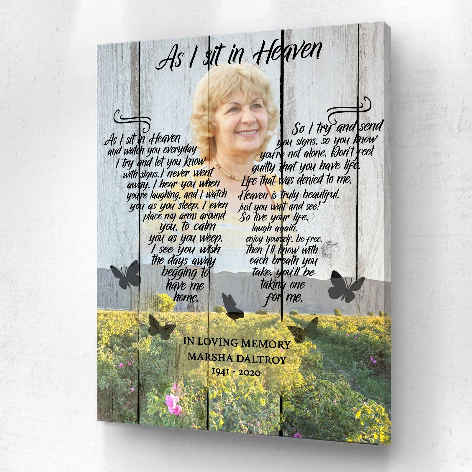 As I Sit In Heaven Rose Field Background - Personalized Canvas