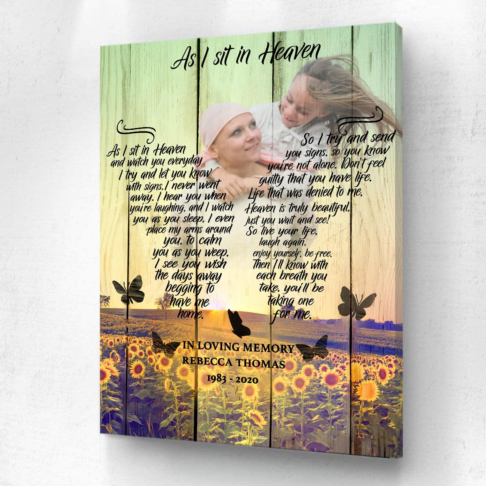 As I Sit In Heaven Sunflower Background - Personalized Canvas