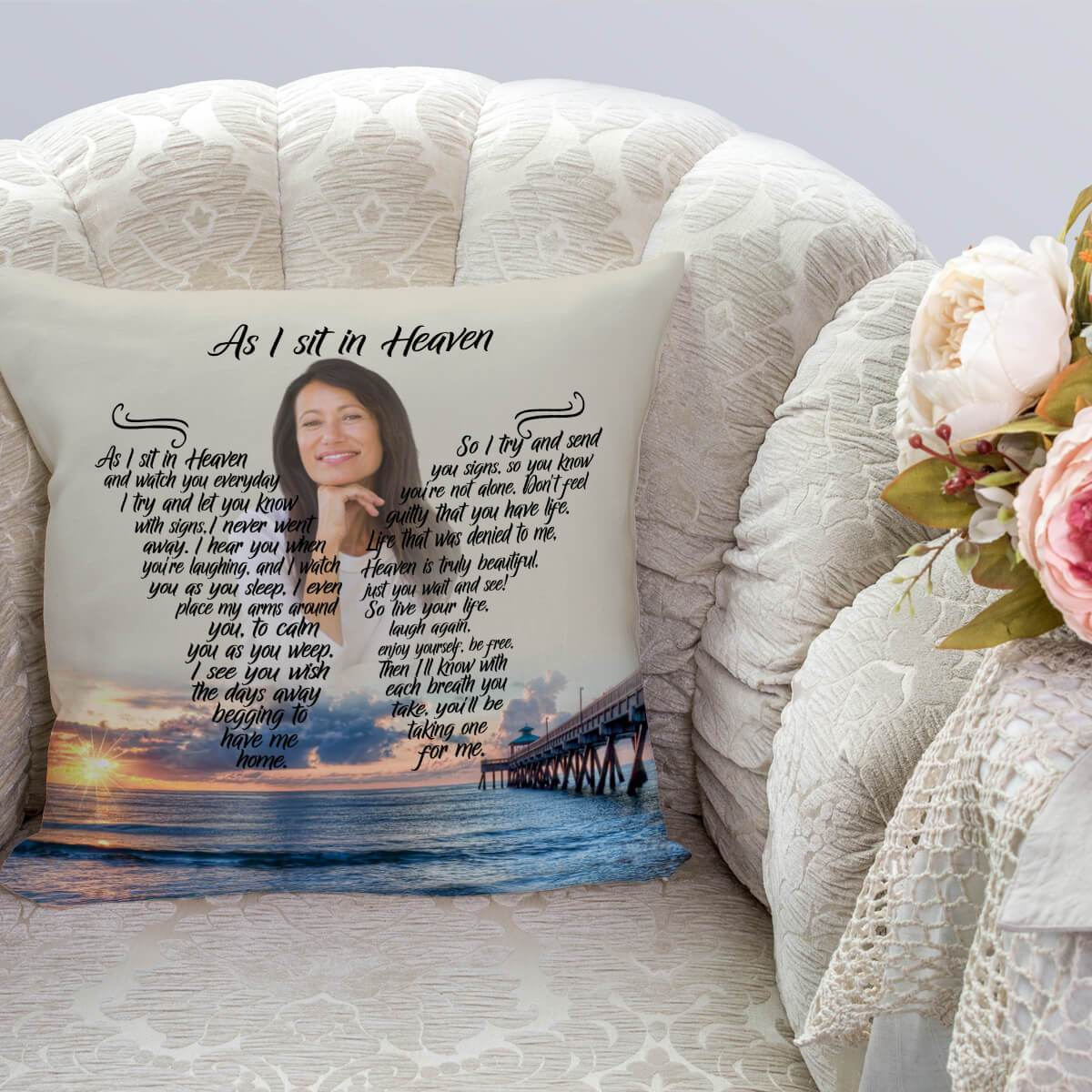 As I Sit In Heaven - Beach Blessing Pillow