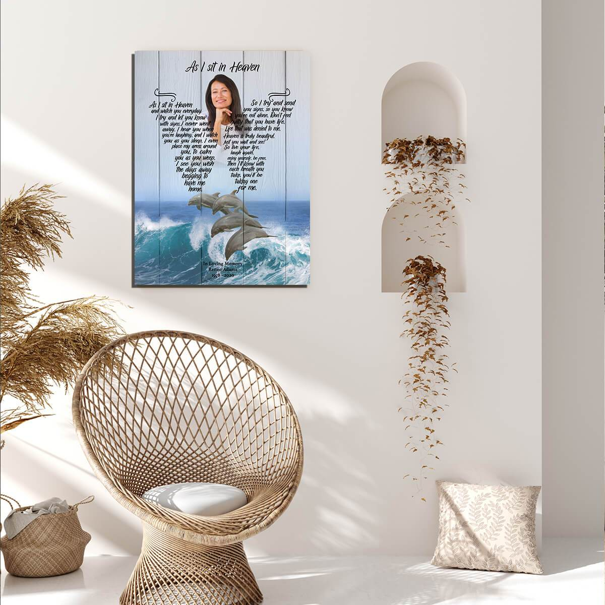 AS I SIT IN HEAVEN - DOLPHIN RETREAT - PERSONALIZED CANVAS