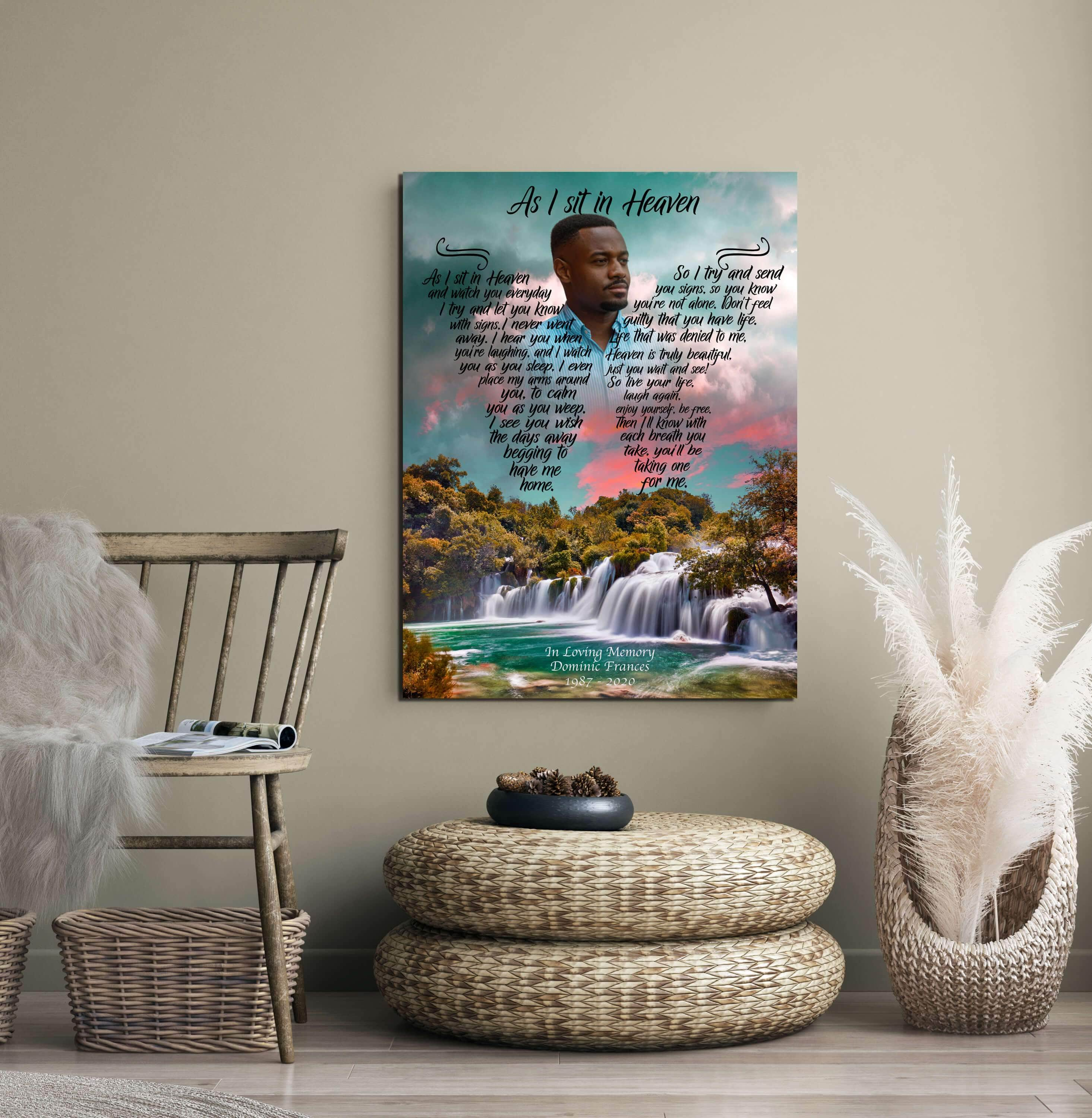 As I Sit In Heaven - Escape To Blue Ridge - Personalized Canvas