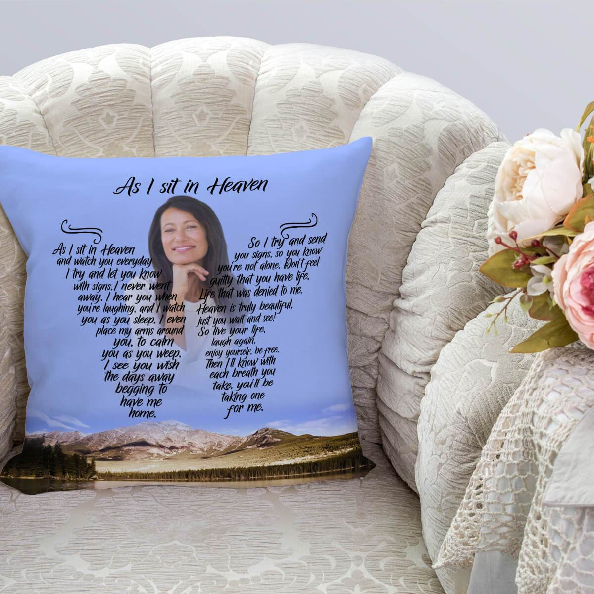 As I Sit In Heaven - Hidden Haven Pillow