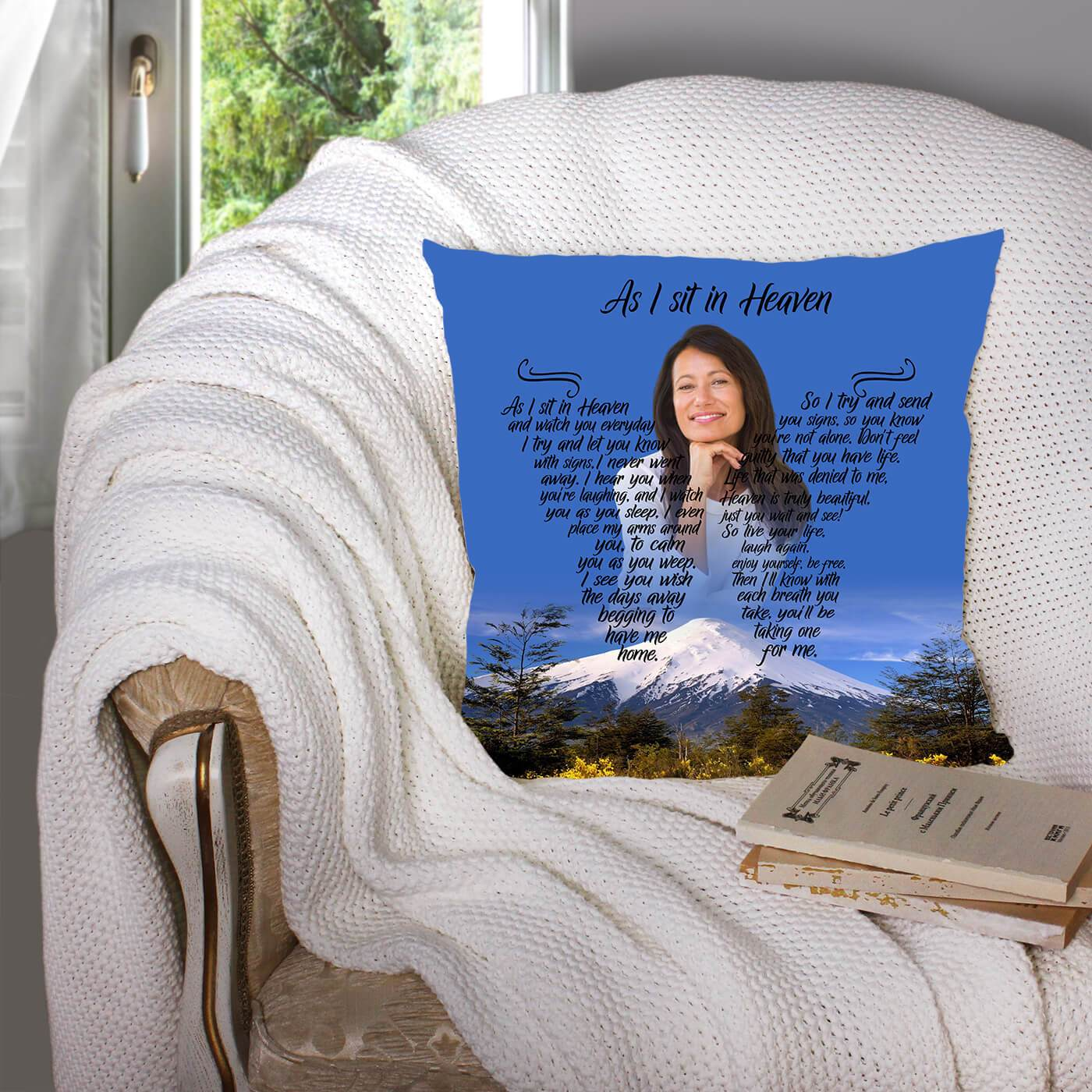 As I Sit In Heaven - Mountains Of Heaven Pillow