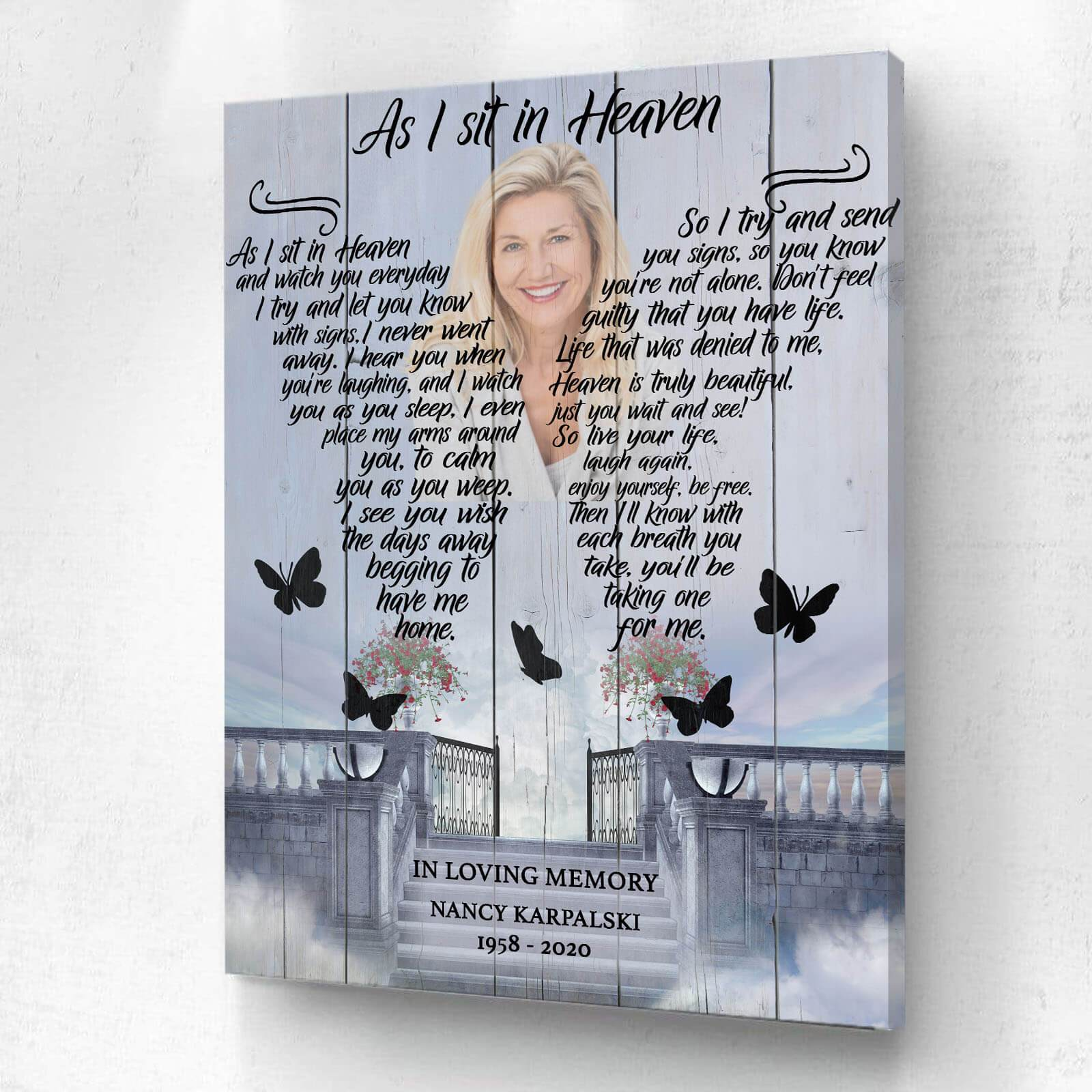 As I Sit In Heaven Stairway to Heaven Background - Personalized Canvas