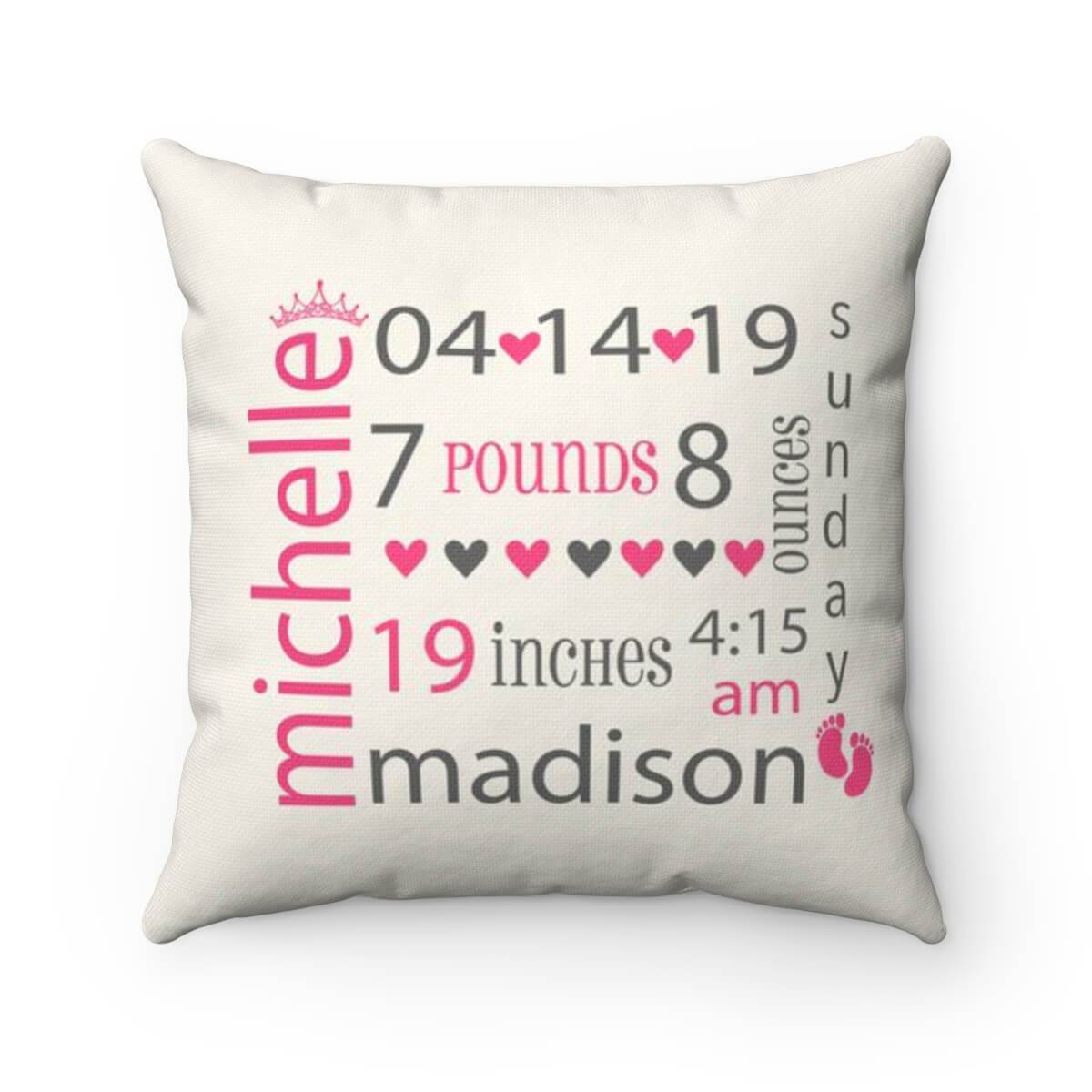 Baby Girl Birth Announcement Pillow - Personalized