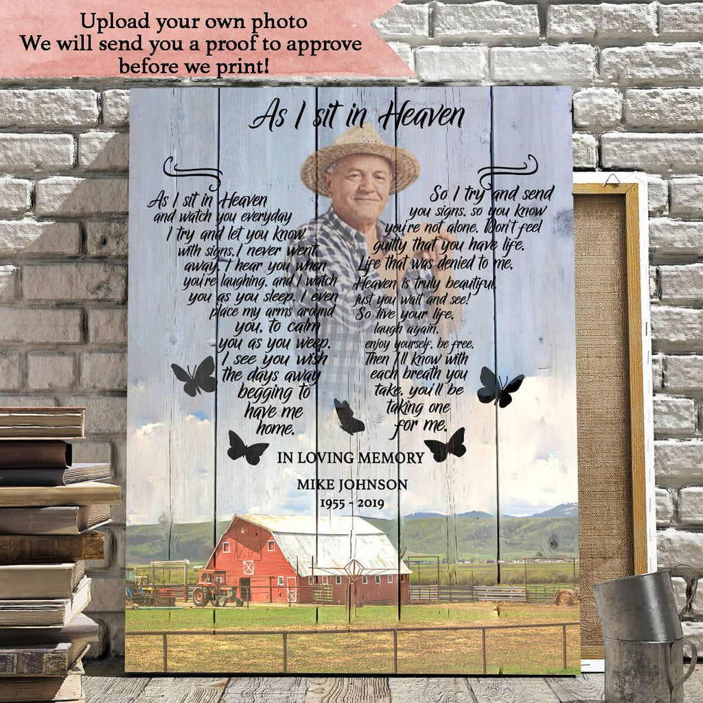 As I Sit In Heaven Farm Background - Personalized Canvas