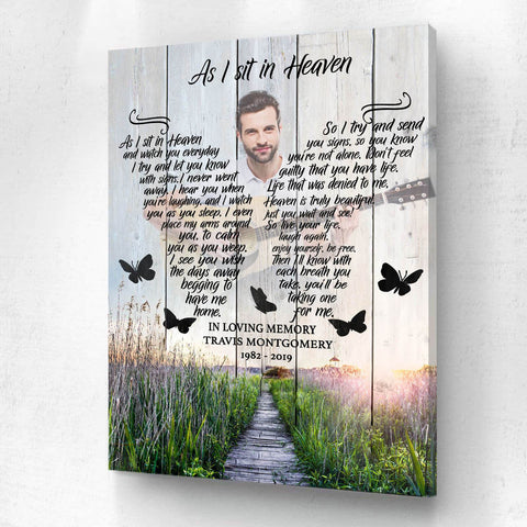 Preview Request As I Sit In Heaven Meadow Background - Personalized Canvas