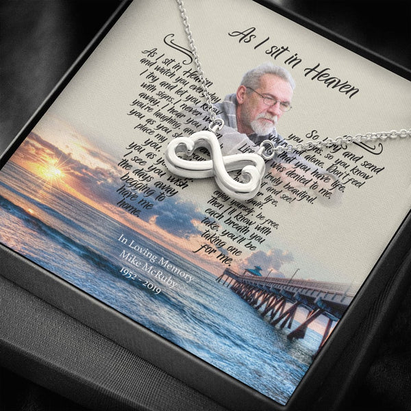 As I Sit In Heaven - Beach Blessing Customized Infinity Necklace