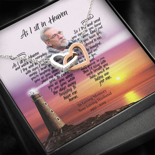 As I Sit In Heaven - Catch The Breeze Customized Interlocked Heart Necklace