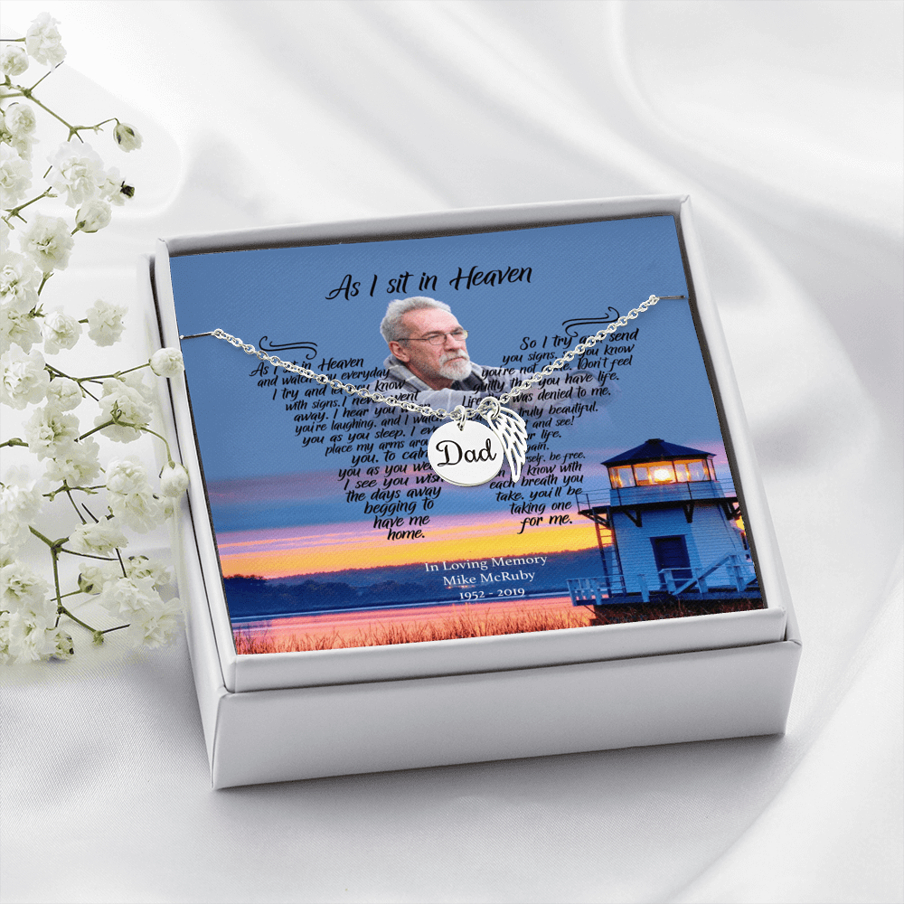 As I Sit In Heaven - Afternoon Delight Customized Dad Remembrance Necklace