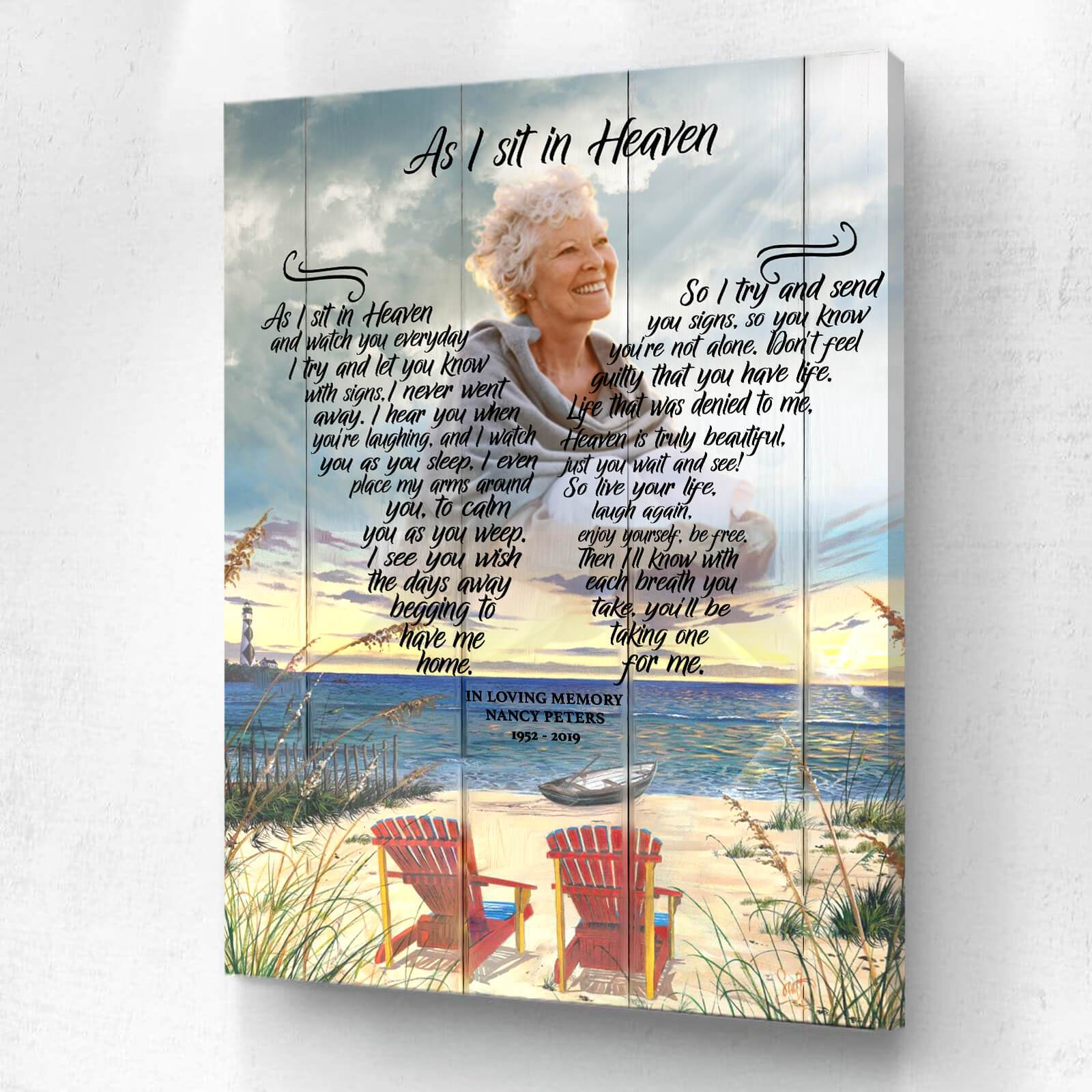 As I Sit In Heaven - 7 Palms - Personalized Canvas