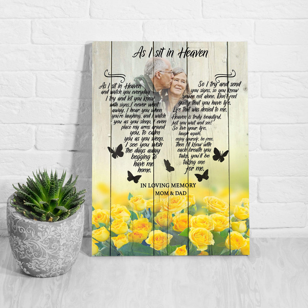 Preview Request As I Sit In Heaven Yellow Roses - Personalized Canvas