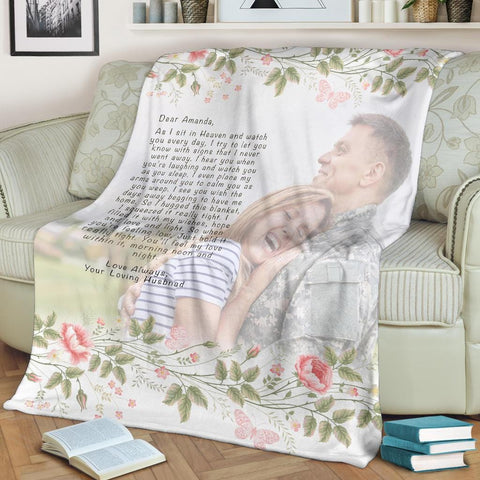 Hugs From Heaven Custom Floral Blanket