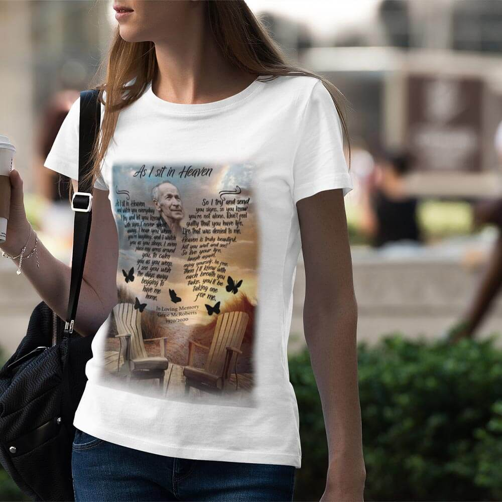 As I Sit In Heaven Personalized Unisex Tee