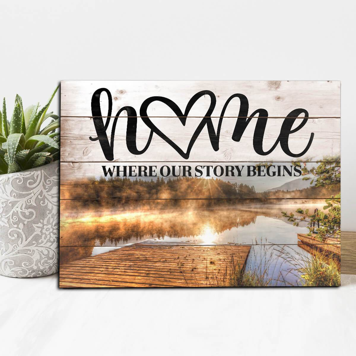Home Where Our Story Begins - lake backdrop