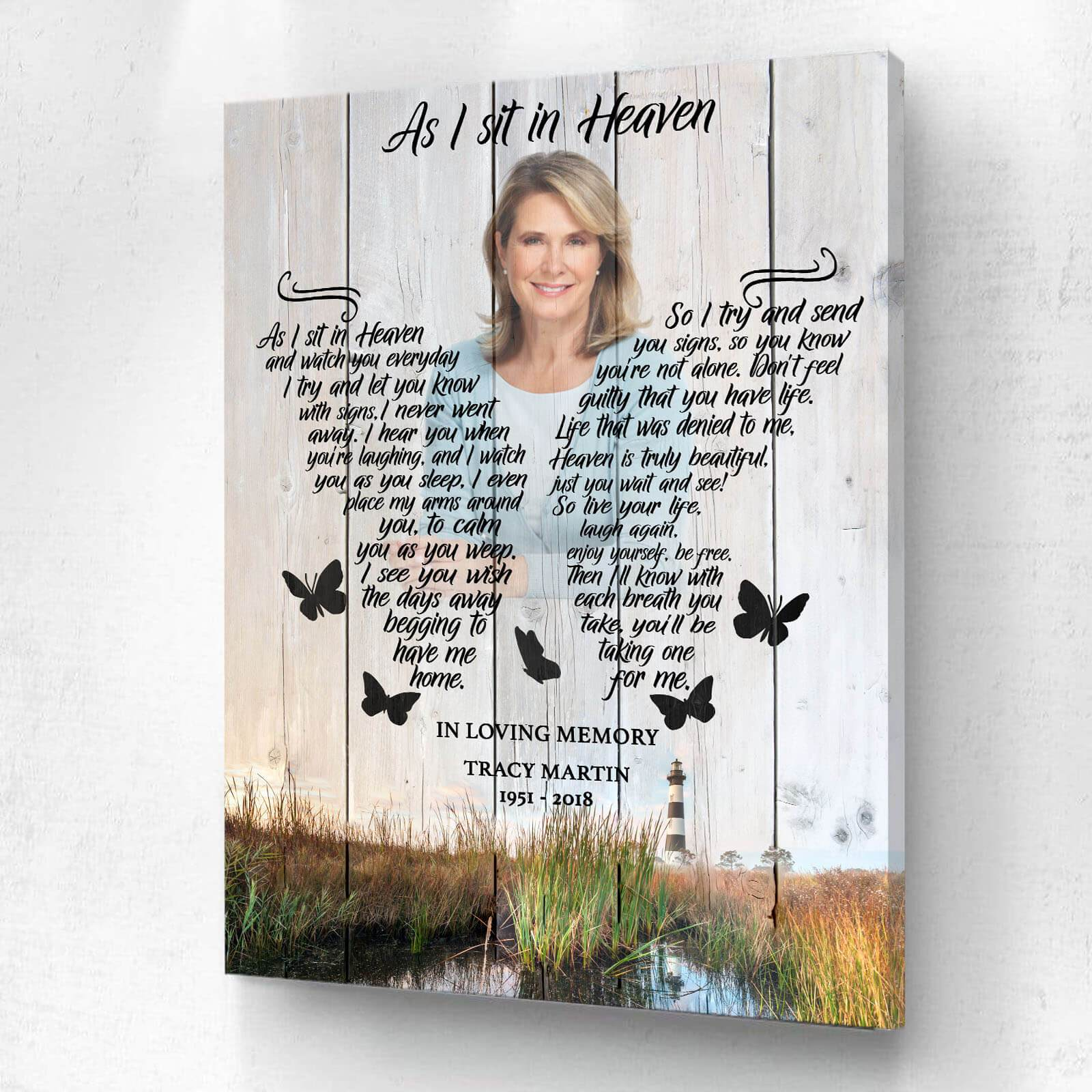 As I Sit In Heaven Lighthouse Background - Personalized Canvas