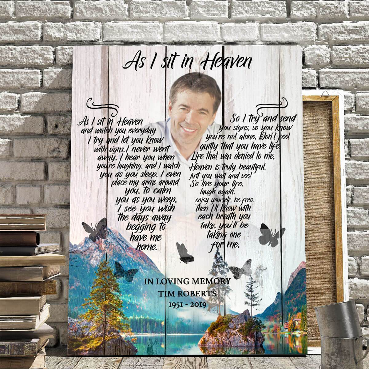 As I Sit In Heaven Mountain Background - Personalized Canvas