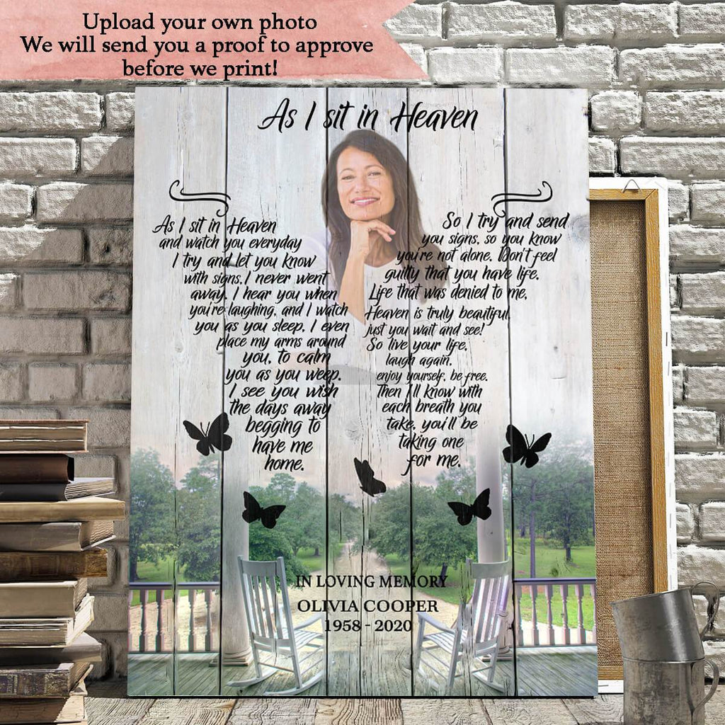 Preview Request - As I Sit In Heaven Rocking Chair Background - Personalized