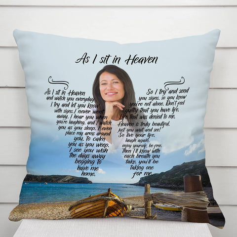 As I Sit In Heaven Sunflower Sea Breeze Bay Pillow