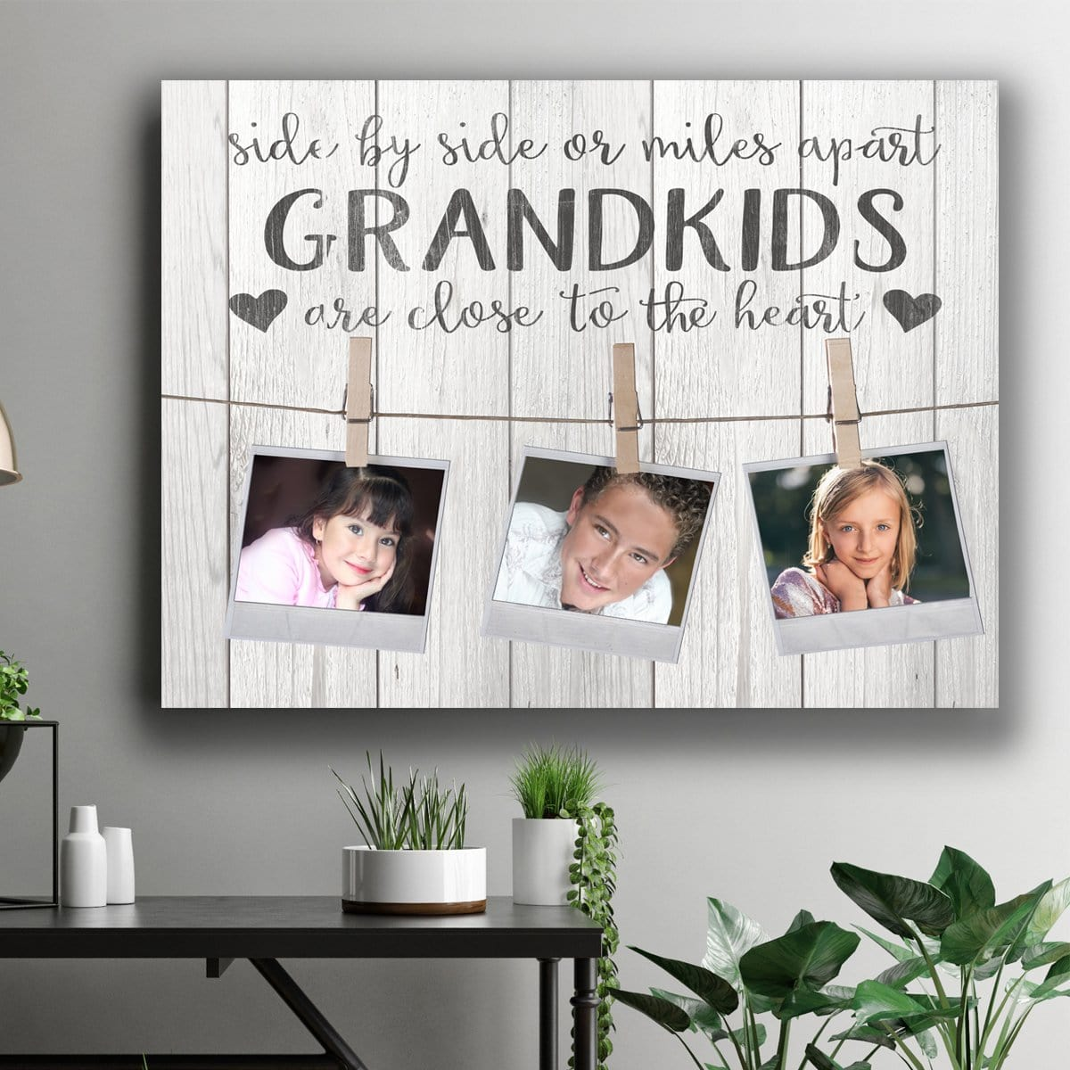 Side By Side Or Miles Apart - Personalized Canvas