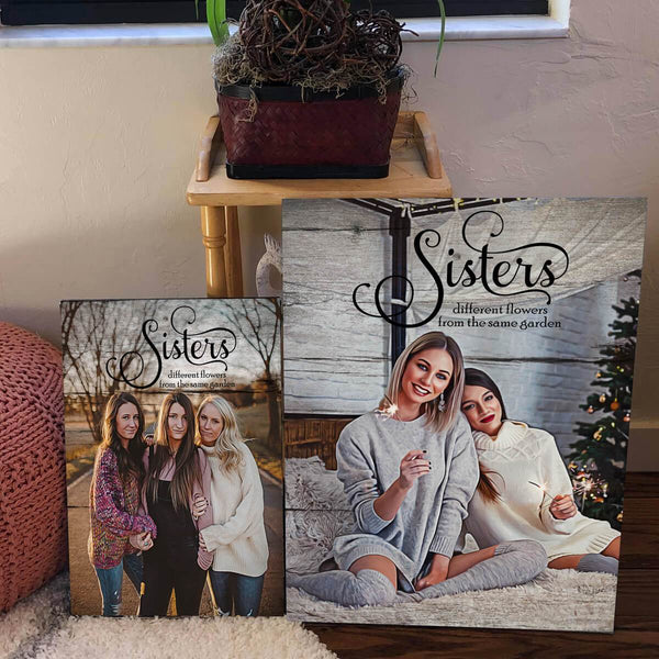 Custom Design -  Oil Painting Sisters Printed On Wood Inspired Background
