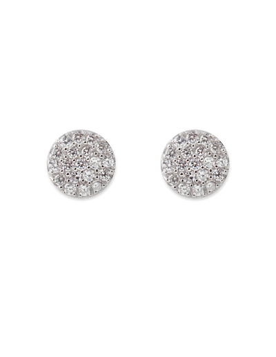 Bianc Briller Pave Disc Sterling Silver Earrings - Silver - Mocha