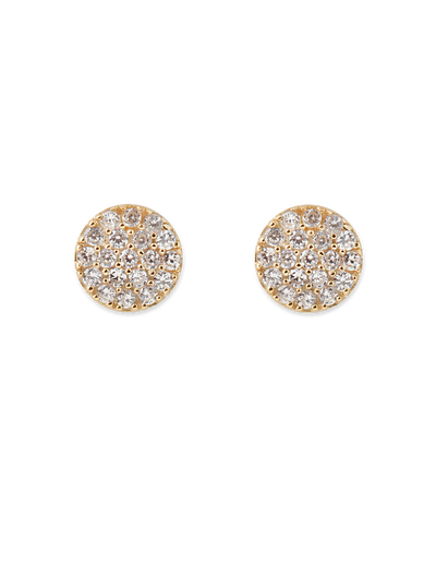 Bianc Briller Pave Disc Sterling Silver Earrings - Gold - Mocha