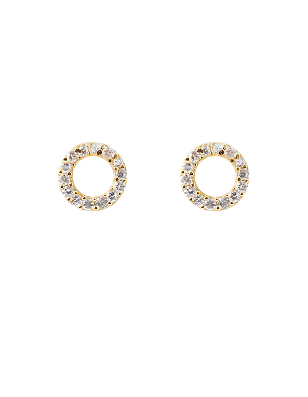 Bianc Circle Earrings w/ Cubic Zirconia - Gold - Mocha