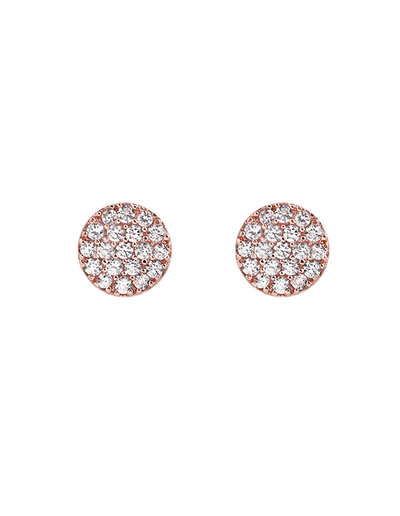 Bianc Briller Pave Disc Sterling Silver Earrings - Rose Gold - Mocha