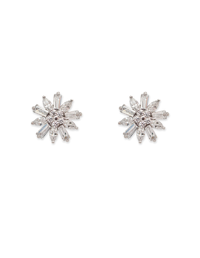 Bianc Small Flower Stud Earrings w/ Cubic Zirconia - Mocha