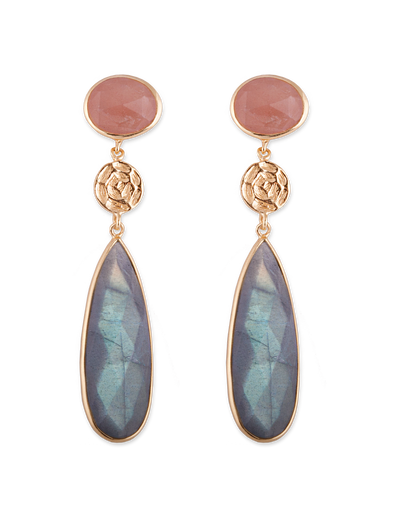 Bianc Peach Moonstone & Disc Earrings - Gold - Mocha