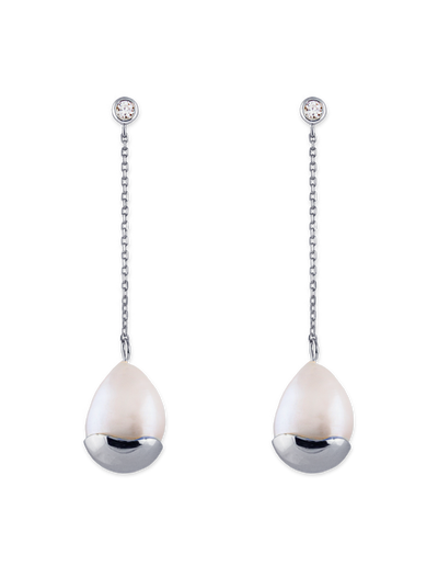 Bianc Marine Earrings w/ Freshwater Pearls - Silver - Mocha