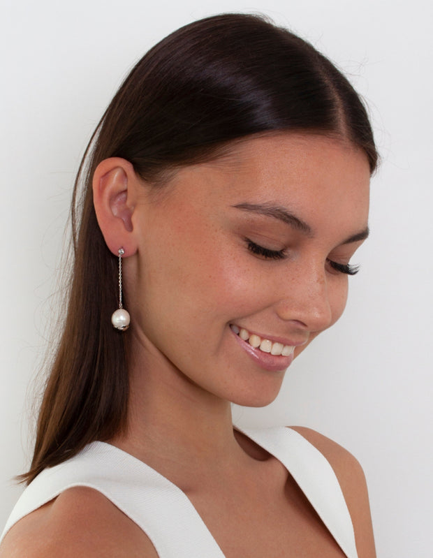 Bianc Marine Earrings w/ Freshwater Pearls - Silver