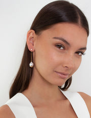 Bianc Marine Earrings w/ Freshwater Pearls - Gold - Mocha