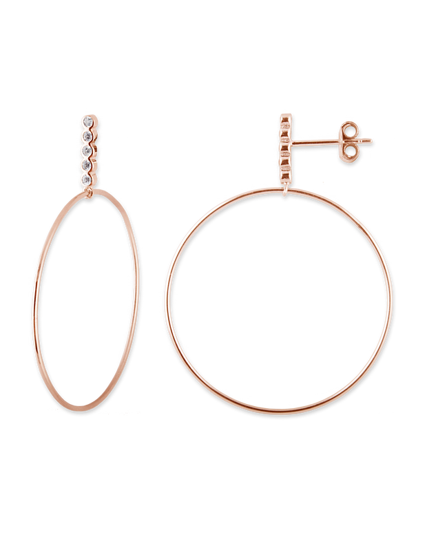 Bianc Bezel Bar & Hoop Earrings - Rose Gold - Mocha