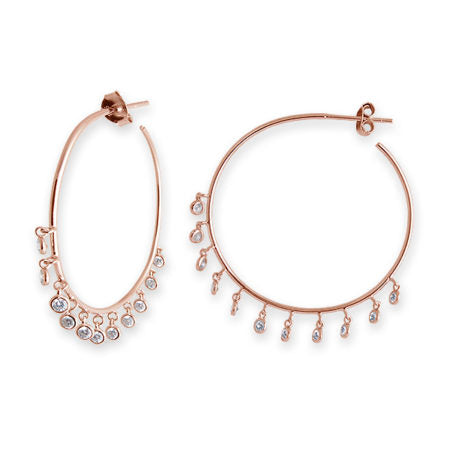 BIANC LATIENNE ROSE GOLD CUBIC ZIRCONIA BEZEL DROP HOOP EARRINGS