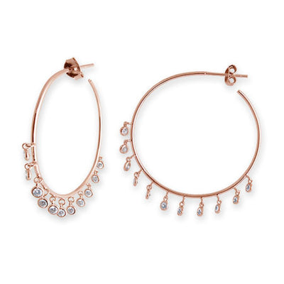 Bianc Latienne Bezel Drop Hoop Earrings - Rose Gold - Mocha