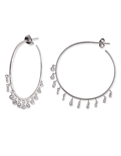Bianc Bezel Drop Hoop Earrings - Silver - Mocha