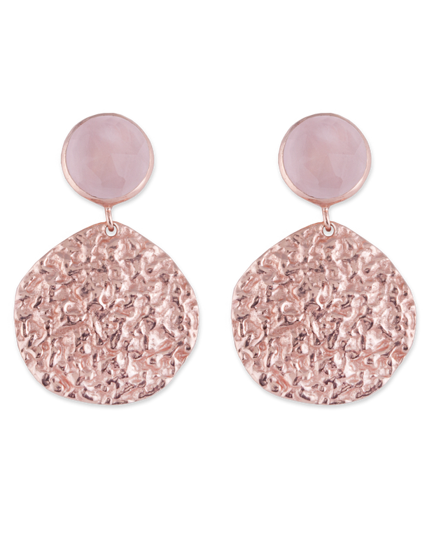 Bianc Large Disc Earring w/ Rose Quartz - Rose Gold - Mocha