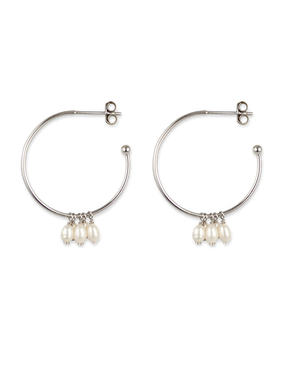 Bianc Cluster Drop Hoop Earrings w/ Freshwater Pearl - Silver - Mocha