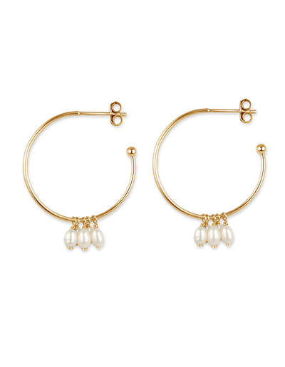 Bianc Cluster Drop Hoop Earrings w/ Freshwater Pearl - Gold - Mocha