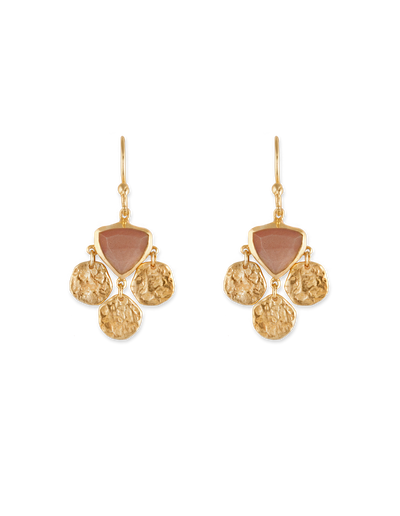 Bianc Tri Disc Earrings w/ Peach Moonstone - Gold - Mocha