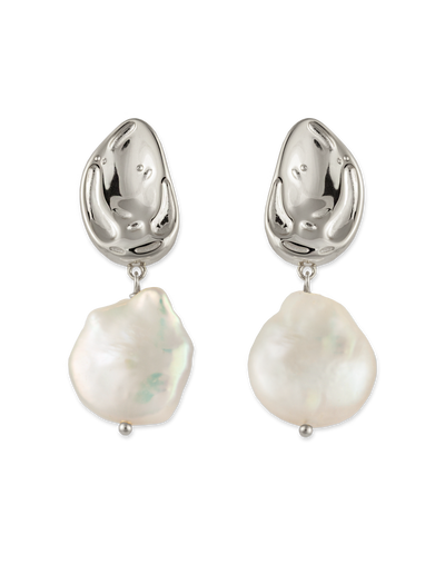 Bianc Atlantic Earrings w/ Freshwater Pearl - Silver - Mocha
